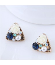 Czech Stone and Pearl Inlaid Vivid Flower Triangle Fashion Stud Earrings - White