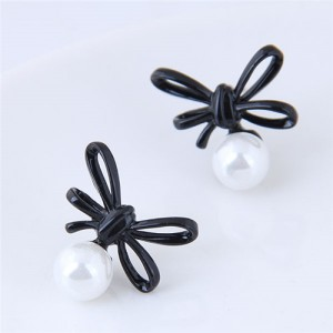 Black Bowknot with Graceful Pearl Design Fashion Stud Earrings