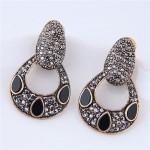 Czech Stone Embellished Unique Vintage Hollow Waterdrop Design Fashion Stud Earrings