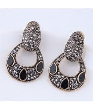 Czech Stone Embellished Unique Vintage Hollow Waterdrop Design Fashion Stud Earrings