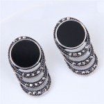 Czech Stone Embellished Vintage Round Waterdrops Dripping Design Fashion Stud Earrings