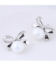 Silver Bowknot with Graceful Pearl Design Fashion Stud Earrings