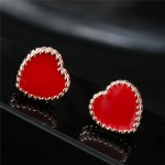 Valentine Fashion Red Heart Costume Stud Earrings