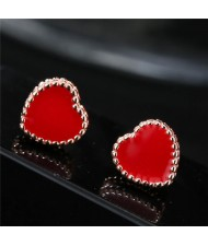 Valentine Fashion Red Heart Costume Stud Earrings