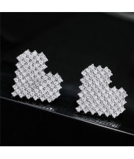 Cubic Zirconia Shining Heart Fashion Stud Earrings