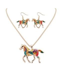 Colorful Oil-spot Glazed Lucky Horse Costume Necklace and Earrings Set - Golden