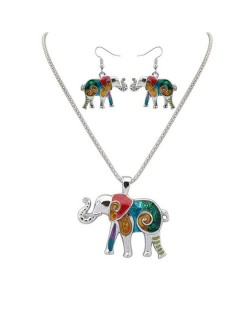 Colorful Oil-spot Glazed Folk Elephant Costume Necklace and Earrings Set - Silver