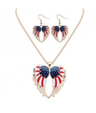 Colorful Oil-spot Glazed U.S. Angel Wings Design High Fashion Necklace and Earrings Set - Golden