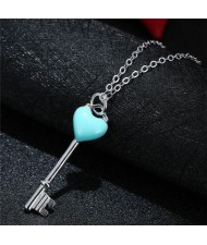Teal Heart Sweet Key Pendant Fashion Necklace