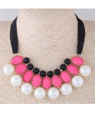 Resin Gems and Pearl Combo Triple Layers Ribbon Fashion Necklace