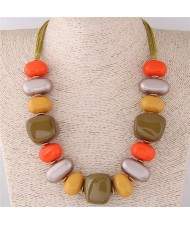 Assorted Candy Style Resin Gems Cluster Design Fashion Statement Necklace - Yellow
