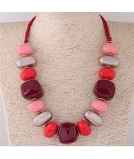Assorted Candy Style Resin Gems Cluster Design Fashion Statement Necklace - Red