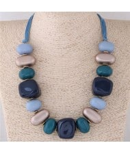Assorted Candy Style Resin Gems Cluster Design Fashion Statement Necklace - Blue