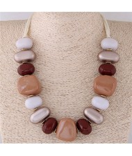 Assorted Candy Style Resin Gems Cluster Design Fashion Statement Necklace - Brown
