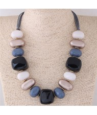 Assorted Candy Style Resin Gems Cluster Design Fashion Statement Necklace - Gray