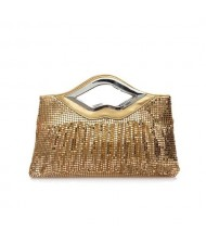(5 Colors Available) Lips Handle Design Glistening Sequins Evening Handbag