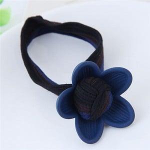 Korean Fashion Sweet Flower Hair Band - Blue