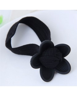 Korean Fashion Sweet Flower Hair Band - Black