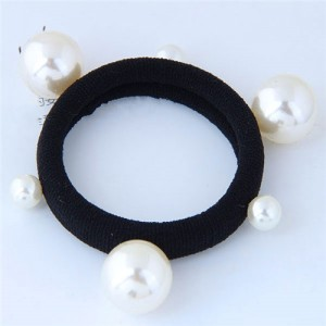 Pearls Embellished Sweet Korean Fashion Hair Band - White