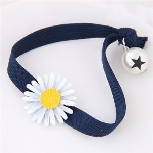Korean Fashion Daisy and Pearl Decorated Women Hair Band - Royal Blue