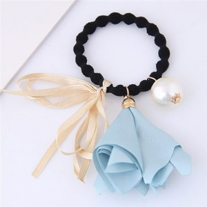 Trumpet Flower Pearl and Bowknot Decorated Korean Fashion Hair Band - Blue
