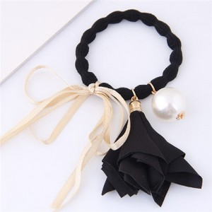Trumpet Flower Pearl and Bowknot Decorated Korean Fashion Hair Band - Black