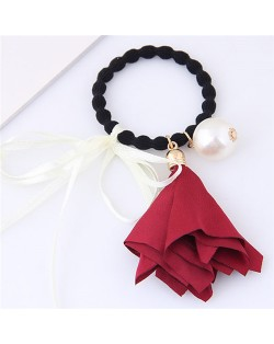 Trumpet Flower Pearl and Bowknot Decorated Korean Fashion Hair Band - Red