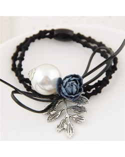 Flower and Leaves with Pearl Decorated Fashion Hair Band - Blue