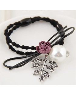Flower and Leaves with Pearl Decorated Fashion Hair Band - Pink