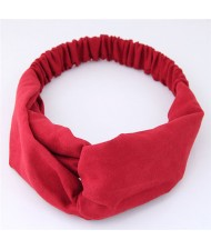 Solid Color Casual Style Korean Fashion Cloth Hair Band - Red