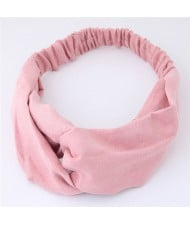 Solid Color Casual Style Korean Fashion Cloth Hair Band - Pink