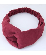 Solid Color Casual Style Korean Fashion Cloth Hair Band - Dark Red