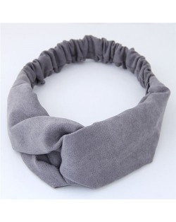 Solid Color Casual Style Korean Fashion Cloth Hair Band - Gray