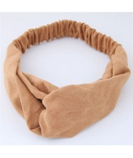 Solid Color Casual Style Korean Fashion Cloth Hair Band - Brown