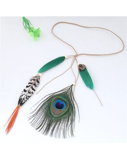 Peacock Feather Bohemian Fashion Beach Style Hair Band/ Accessory - Green