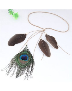 Peacock Feather Bohemian Fashion Beach Style Hair Band/ Accessory - Brown