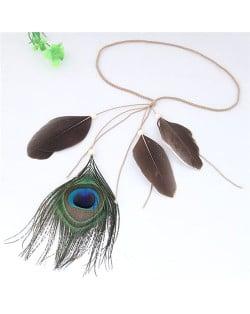 Peacock Feather Bohemian Fashion Beach Style Hair Band/ Accessory - Brown
