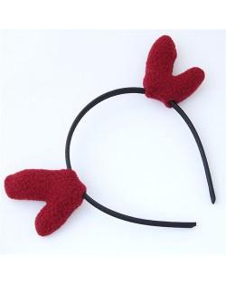 Deer Antlers Adorable Fashion Hair Hoop - Dark Red
