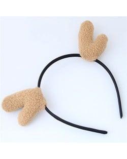 Deer Antlers Adorable Fashion Hair Hoop - Khaki
