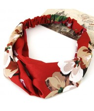 Flowers Prints High Fashion Casual Style Hair Band - Red
