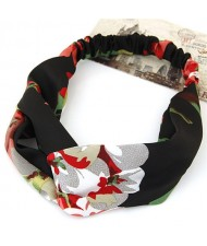 Flowers Prints High Fashion Casual Style Hair Band - Black