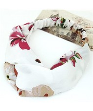 Flowers Prints High Fashion Casual Style Hair Band - White