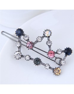 Glistening Rhinestone Embellished Crown Korean Fashion Hair Barrette - Gun Black