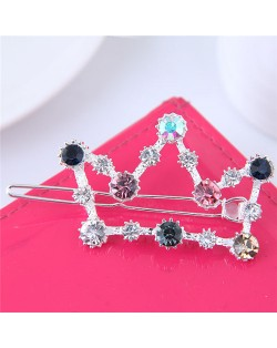 Glistening Rhinestone Embellished Crown Korean Fashion Hair Barrette - Silver
