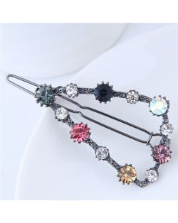 Shining Rhinestone Embellished Cute Triangle Design Fashion Hair Barrette - Gun Black