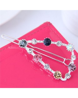 Shining Rhinestone Embellished Cute Triangle Design Fashion Hair Barrette - Silver