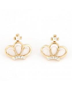 Korean Cute Fashion Crown Design Ear Studs