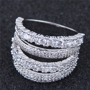 Cubic Zirconia Embellished Four Layers Shining Fashion Ring - Silver