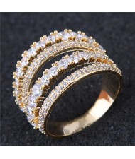 Cubic Zirconia Embellished Four Layers Shining Fashion Ring - Golden