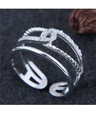 Linked Rope Design Hollow Fashion Ring